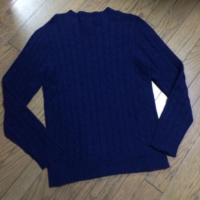 nano・universe(ナノユニバース)の美品NANO-UNIVERSE ケーブルニット 日本製 ブルー ナノ メンズのトップス(ニット/セーター)の商品写真