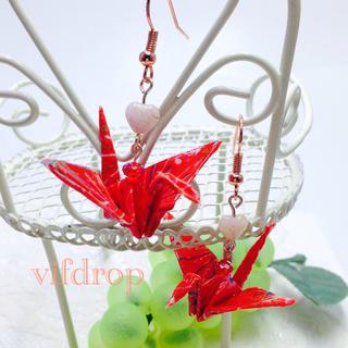友禅千代紙 花火柄赤折り鶴のハート和ピアス(ピアス)
