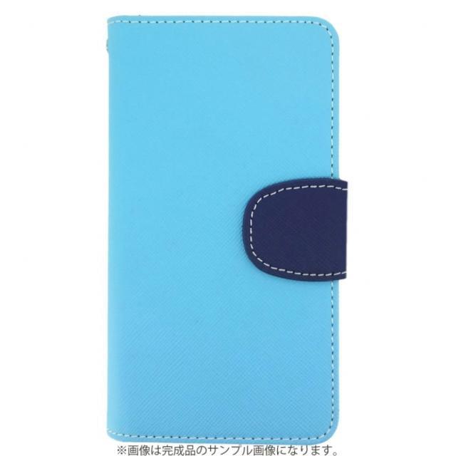ほぼ全機種対応 オーダーメイド 2トーン手帳型ケース パステルブルー×紺 ハンドメイドのファッション小物(その他)の商品写真
