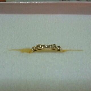 美品☆K10  ダイヤモンドリボンリング 16号(リング(指輪))