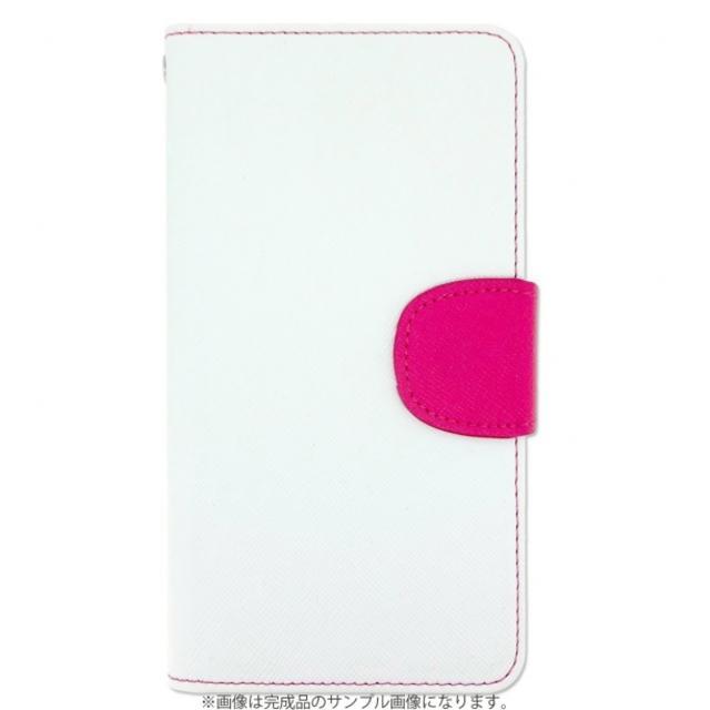 ほぼ全機種対応 オーダーメイド 2トーン手帳型ケース ホワイト×ピンク ハンドメイドのファッション小物(その他)の商品写真