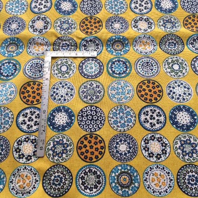 ポーリッシュ 柄生地 1m イエロー地 綿麻キャンバス ハンドメイド ハンドメイドの素材/材料(生地/糸)の商品写真
