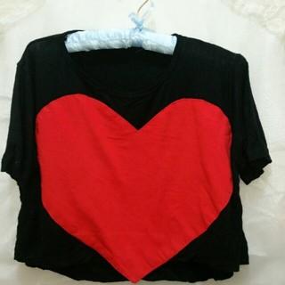 ハート ショート丈ラグランT 送料込み(Tシャツ(半袖/袖なし))