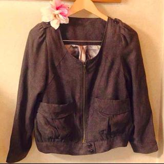 スエード地のジャケット(ノーカラージャケット)