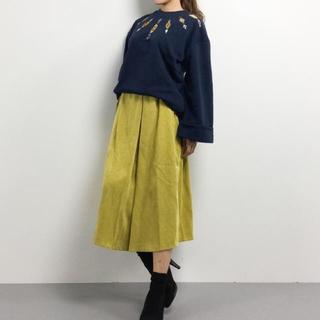 ダブルネーム(DOUBLE NAME)の今期DOUBLE  NAME ☆コーデュロイ黄色スカート☆イエロー(ひざ丈スカート)