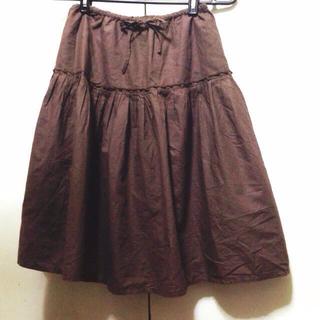 茶色ギャザースカート(ひざ丈スカート)