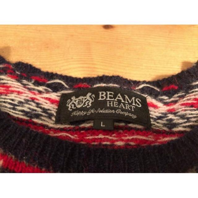 BEAMS ワインレッド 柄ニット Lサイズ メンズのトップス(ニット/セーター)の商品写真