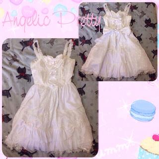 アンジェリックプリティー(Angelic Pretty)のAP ヴィクトリアプリンセスJSK(白)(ひざ丈ワンピース)
