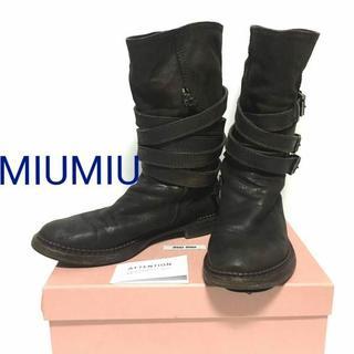 ミュウミュウ(miumiu)の正規品 MIUMIU レザー ベルト エンジニアブーツ 本革 黒  箱(ブーツ)