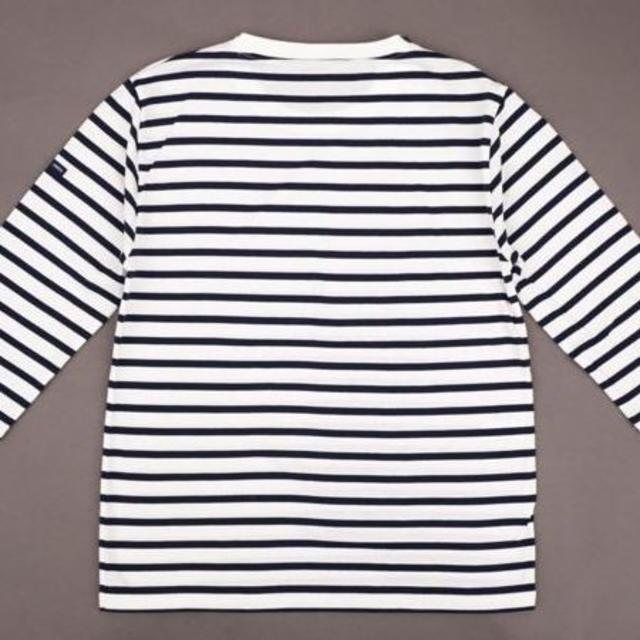SAINT JAMES(セントジェームス)のセントジェームス モーレ 七分袖 クルーネック Tシャツ 白/マリン サイズT3 レディースのトップス(Tシャツ(長袖/七分))の商品写真