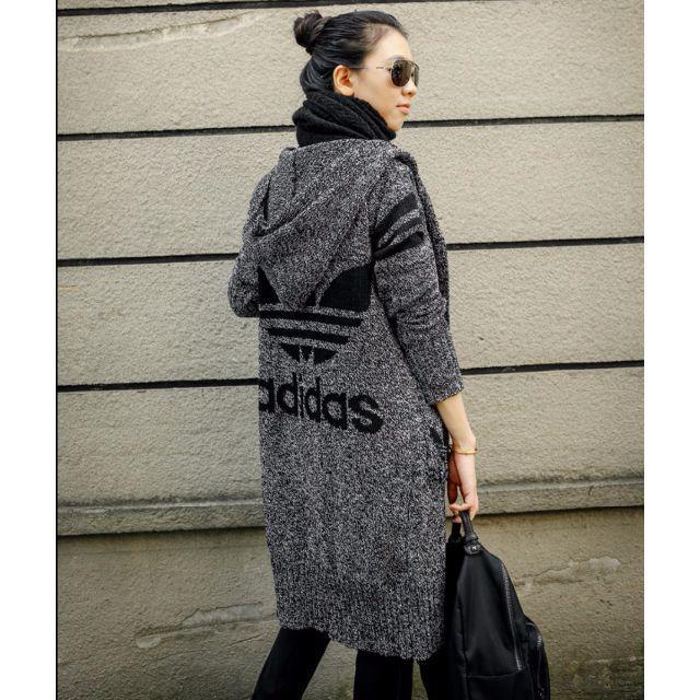 adidas(アディダス)の2色 人気 adidas アウター グレー コート 秋冬 厚 レディースのジャケット/アウター(ロングコート)の商品写真