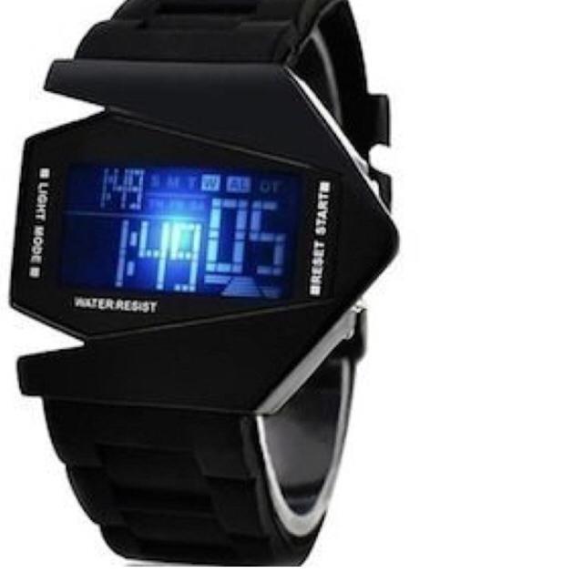 スクエア デザインウォッチ LED ライト 多機能 腕時計 ブラック   メンズの時計(腕時計(デジタル))の商品写真