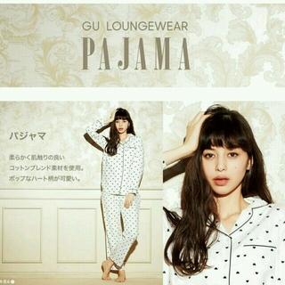 ジーユー(GU)のgu ハート柄パジャマ ホワイト Lサイズ(パジャマ)
