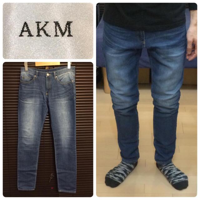 AKM(エイケイエム)のAKMスウェットデニムパンツジョグデニムダメージジーンズ送料込 メンズのパンツ(デニム/ジーンズ)の商品写真