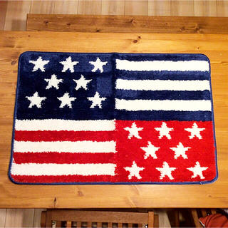 シマムラ(しまむら)の新品☆ 大人気♪ 星条旗 アメリカン バスマット 玄関マット しまむら(バスマット)