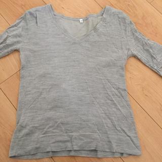 ムジルシリョウヒン(MUJI (無印良品))の薄手 グレー コットンシルクニット(ニット/セーター)
