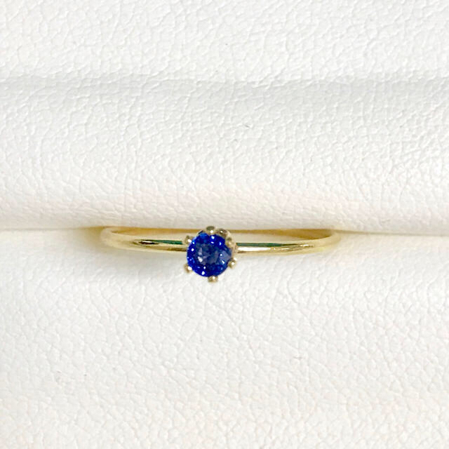 ブルーサファイア k14gf 華奢リング 10号 ハンドメイドのアクセサリー(リング)の商品写真