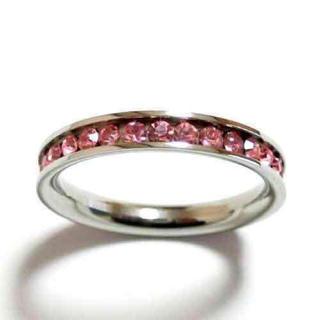 17号 ステンレス フルエタニティ ピンク 水晶 シルバーリング(リング(指輪))