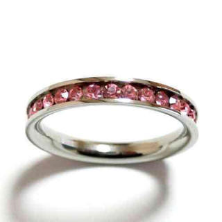 20号 ステンレス フルエタニティ ピンク 水晶 シルバーリング(リング(指輪))