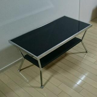(3/18迄の出品/発送は26迄)ブラックガラス センターテーブル(ローテーブル)