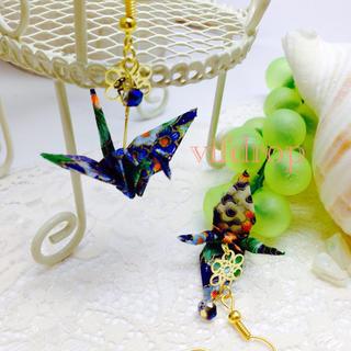 A10 花柄青折り鶴の和ピアス(ピアス)