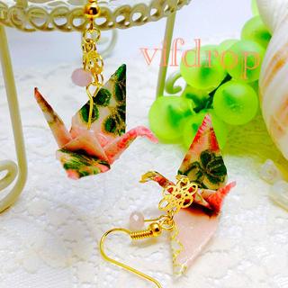 A20 花柄 桃色折り鶴の和ピアス(ピアス)