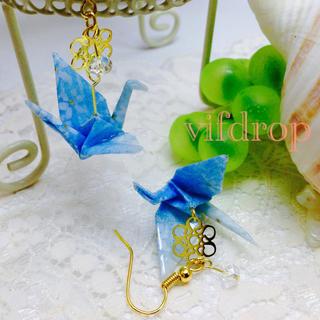 A22 小花柄 水色折り鶴の和ピアス(ピアス)