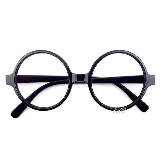 ★丸メガネ 丸眼鏡 ラウンドフレーム 伊達メガネ ブラック ★ メンズのファッション小物(サングラス/メガネ)の商品写真