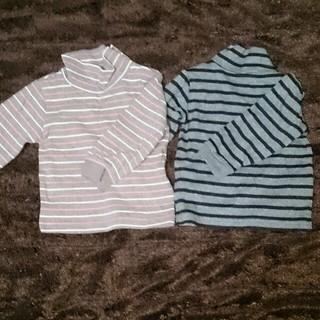 ムジルシリョウヒン(MUJI (無印良品))の新品2枚セット無印80ボーダートップス(Tシャツ/カットソー)
