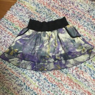 ハニーミーハニー(Honey mi Honey)のイエロー×パープルcuteマーブルシフォンスカート♡(ミニスカート)