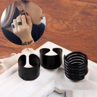 ブラック リング フリーサイズ 3個 セット(リング(指輪))