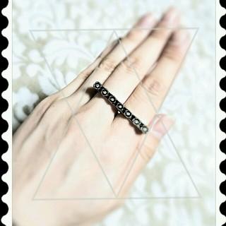 2連キラキラブラックフラワーリング(リング(指輪))
