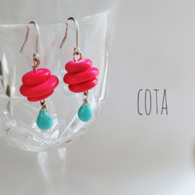 【cota】雫のゆらゆらピアス*ピンク ハンドメイドのアクセサリー(ピアス)の商品写真