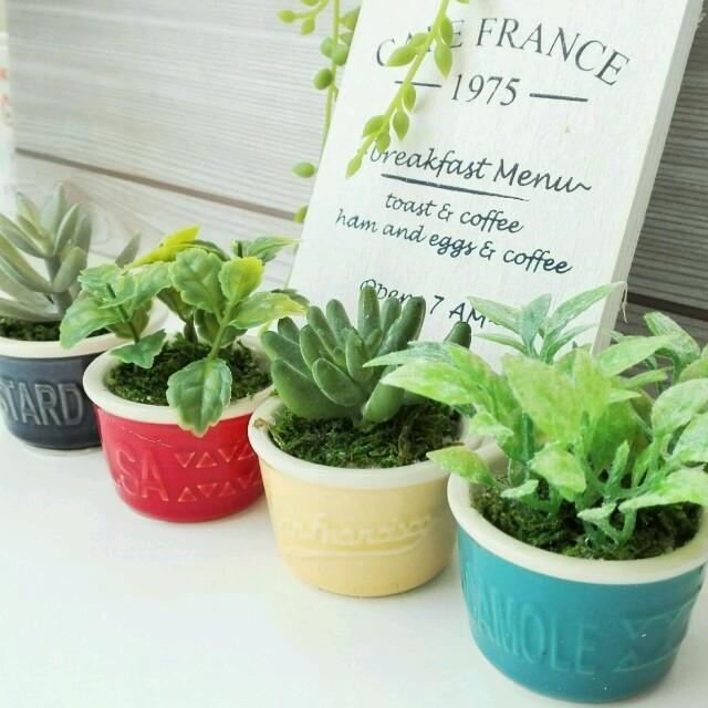 ディップカップ(4点set)❁多肉&グリーンのアレンジ ハンドメイドのフラワー/ガーデン(その他)の商品写真