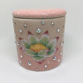 スワロフスキー(SWAROVSKI)の送料無料 スワロフスキー グリッターデコ 装飾お骨壺 お手元供養 ロータス 桃(オーダーメイド)
