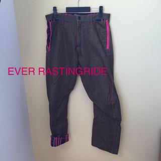 エバーラスティングライド(EVERLASTINGRIDE)の値下げ!EVER RASTINGRIDE パンツ XL チェック柄(デニム/ジーンズ)