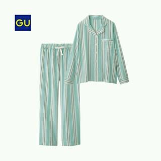 ジーユー(GU)の新品未使用タグ付き★guマルチストライプパジャマ❤グリーン❤ウエストリボン部屋着(パジャマ)