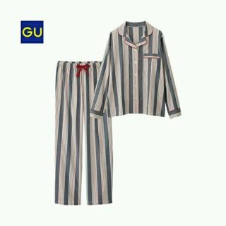 ジーユー(GU)の新品タグ付き★guマルチストライプパジャマM❤ネイビー❤ウエストリボン部屋着❤(パジャマ)