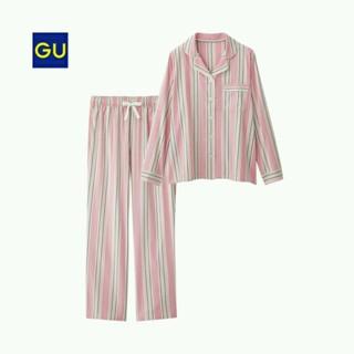 ジーユー(GU)の新品未使用タグ付き★guマルチストライプパジャマ❤ピンク❤ウエストリボン部屋着❤(パジャマ)