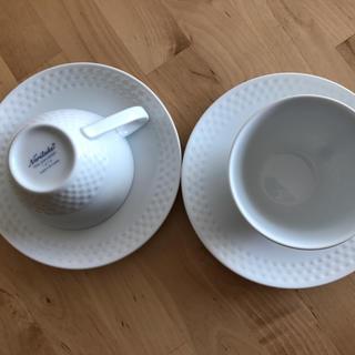 ノリタケ(Noritake)のノリタケ Noritake ペア ティーカップ ホワイト チェッカーフラッグ柄(食器)