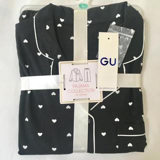 ジーユー(GU)のLサイズ 新品未使用 GU ハート柄パジャマ(黒)(パジャマ)