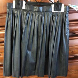 マーキュリーデュオ(MERCURYDUO)の美品 MERCURYDUO レザー プリーツスカート ブラック クリーニング済(ミニスカート)