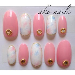 ピンク&タイダイ柄nail