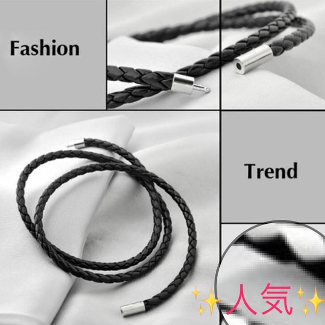 ブレスレット 黒 ブラック 編み込み メンズ 【人気】 メンズのアクセサリー(ブレスレット)の商品写真