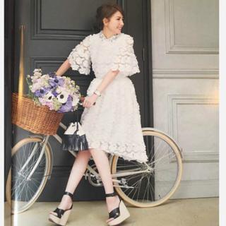 チェスティ(Chesty)の【新品タグ付】入手困難チェスティ♡ワンランク上の揺れるチュール・刺繍のスカート(ひざ丈スカート)