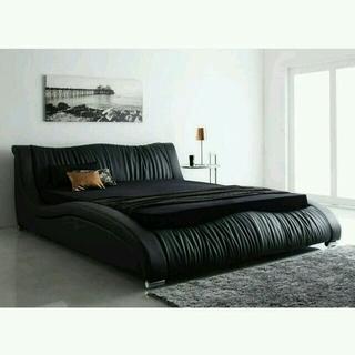 クイーンベッド 高級レザー ブラック マットレス付き デザイナーズベッド5年保証(クイーンベッド)