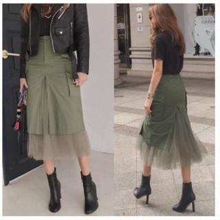 ルシェルブルー(LE CIEL BLEU)の人気商品 スカート ミリタリー(ひざ丈スカート)