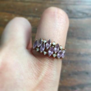 vintage❤︎春色ラベンダーマーキスカットの指輪(リング(指輪))