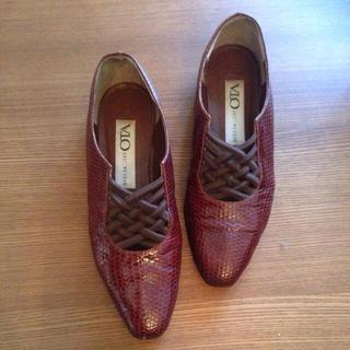 70's国産!蛇革型押しローファー(ローファー/革靴)