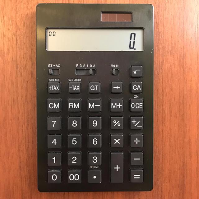 MUJI (無印良品)(ムジルシリョウヒン)の無印良品 電卓 黒 ブラック 簿記検定 資格 インテリア/住まい/日用品のオフィス用品(オフィス用品一般)の商品写真